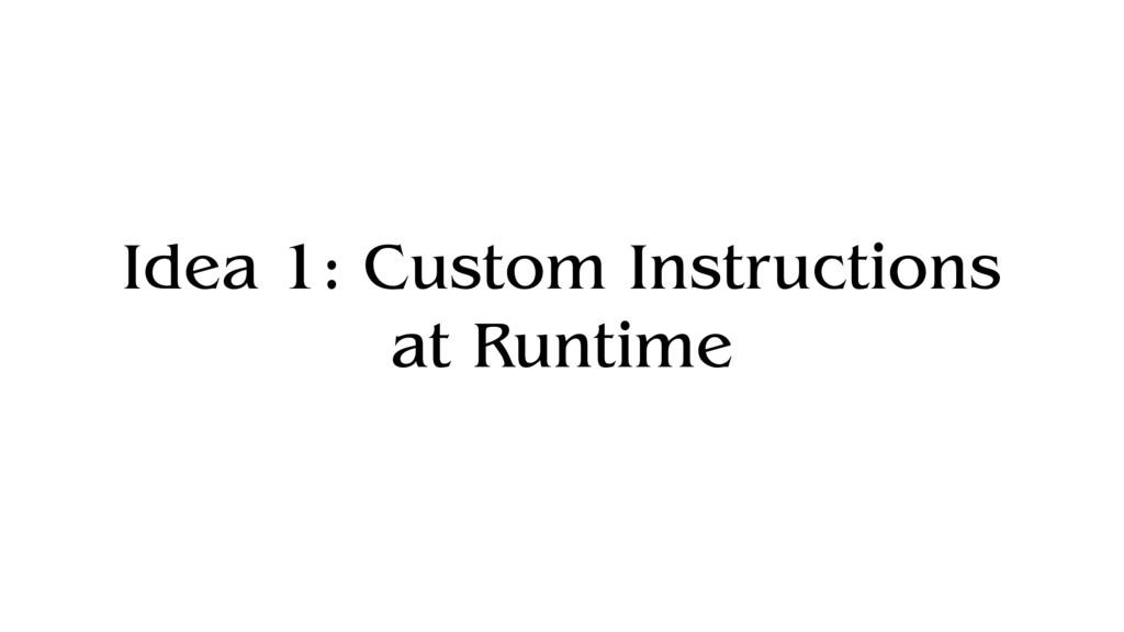 Idea 1: Custom Instructions at Runtime