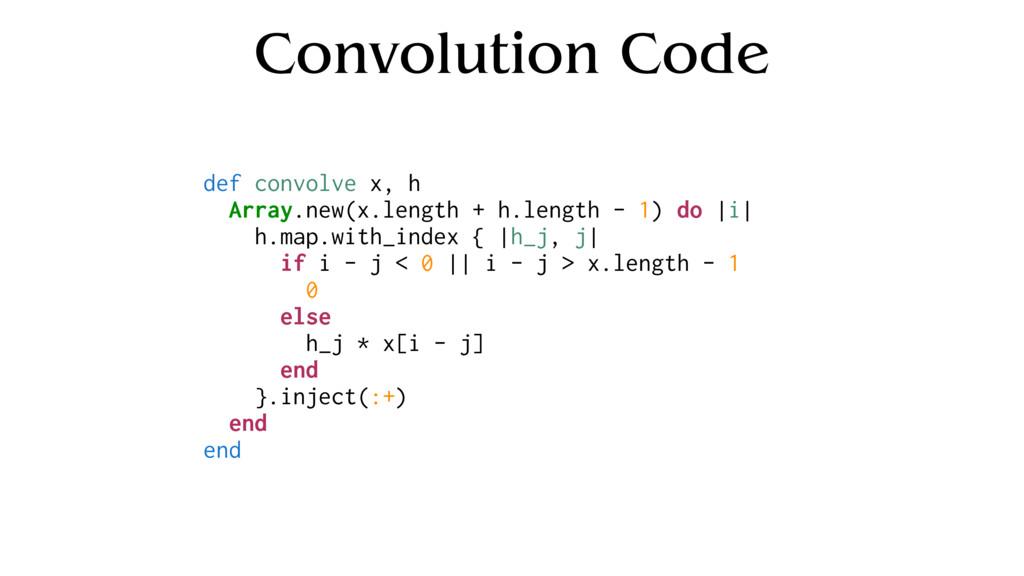 Convolution Code def convolve x, h Array.new(x....