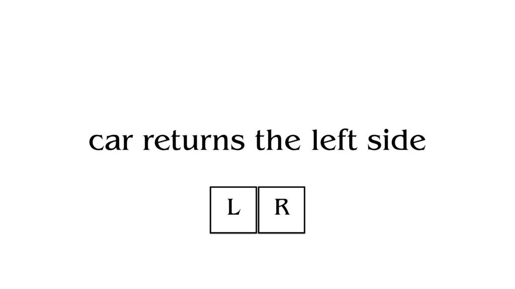 car returns the left side L R