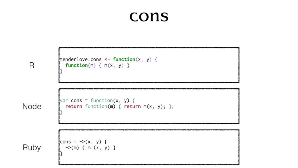 cons tenderlove.cons <- function(x, y) { functi...