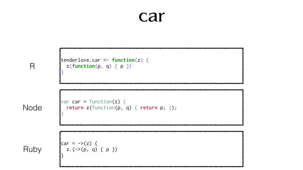 car tenderlove.car <- function(z) { z(function(...