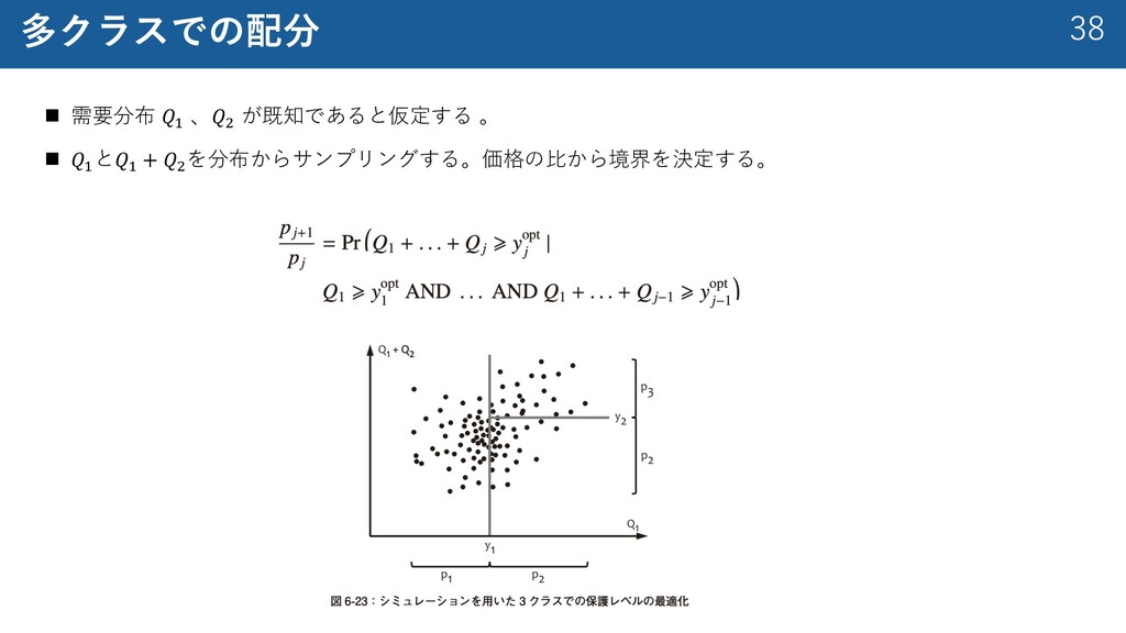 38 多クラスでの配分 n 需要分布 𝑄% 、𝑄( が既知であると仮定する 。 n 𝑄% と𝑄...
