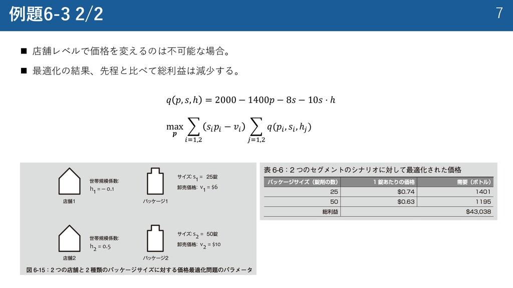 7 例題6-3 2/2 n 店舗レベルで価格を変えるのは不可能な場合。 n 最適化の結果、先程...