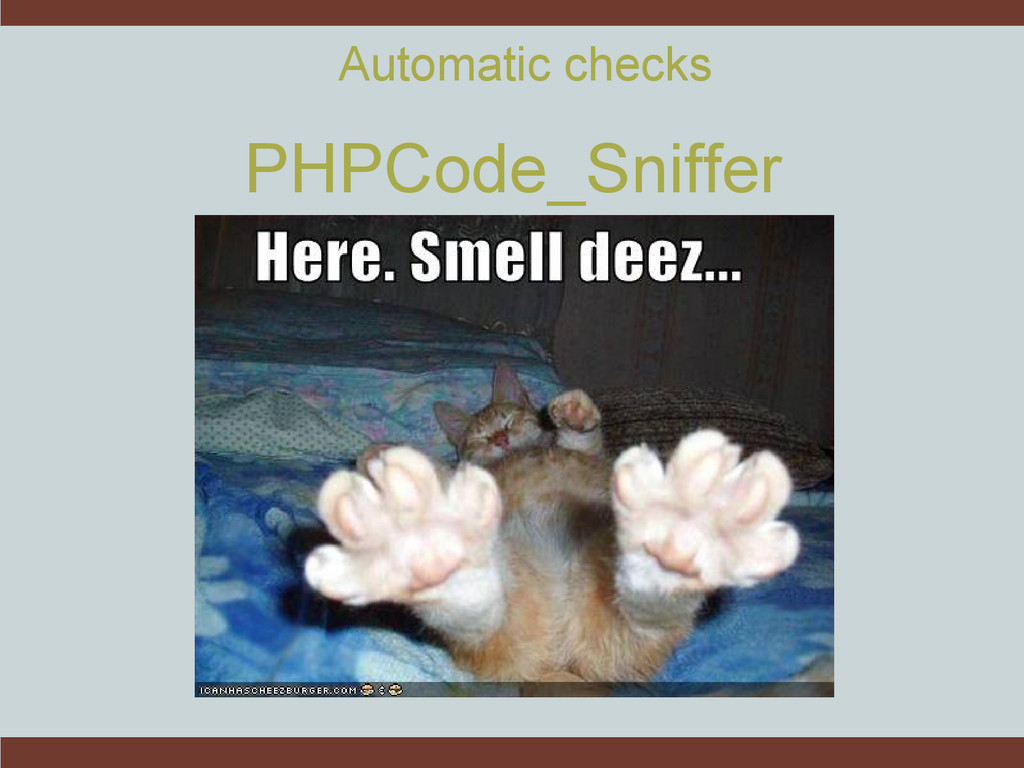 Automatic checks PHPCode_Sniffer