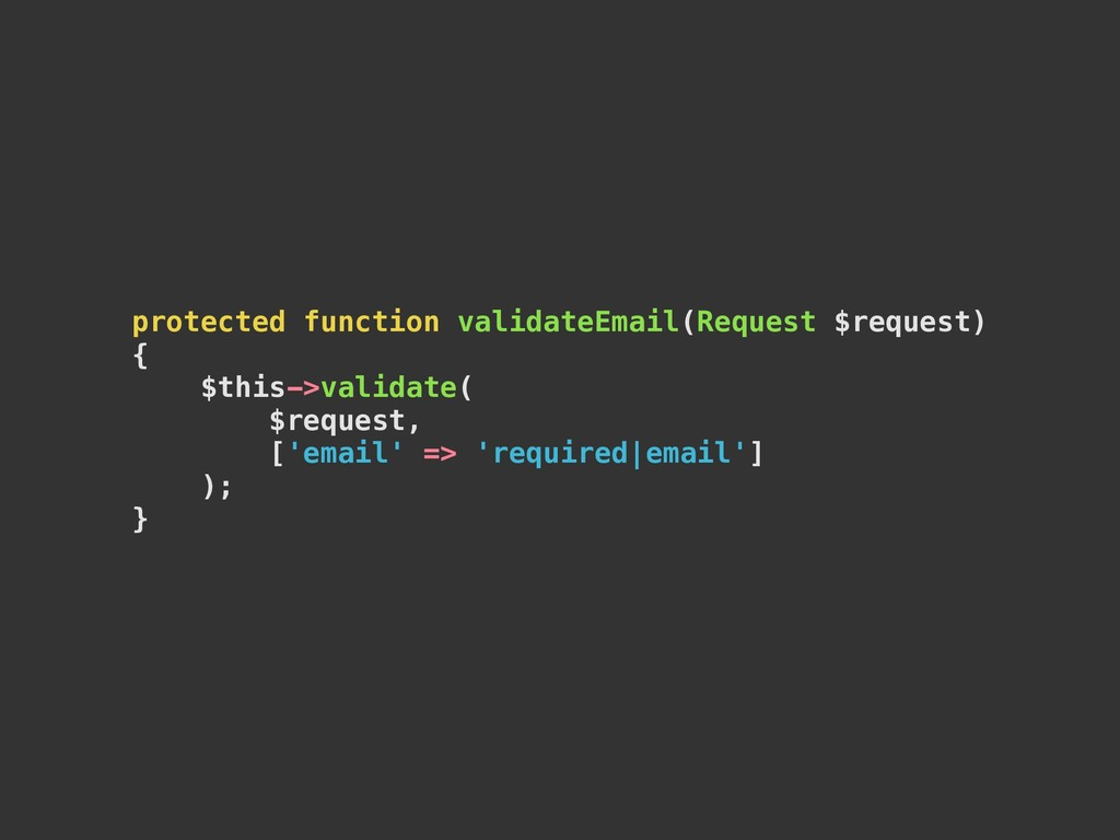 protected function validateEmail(Request $reque...