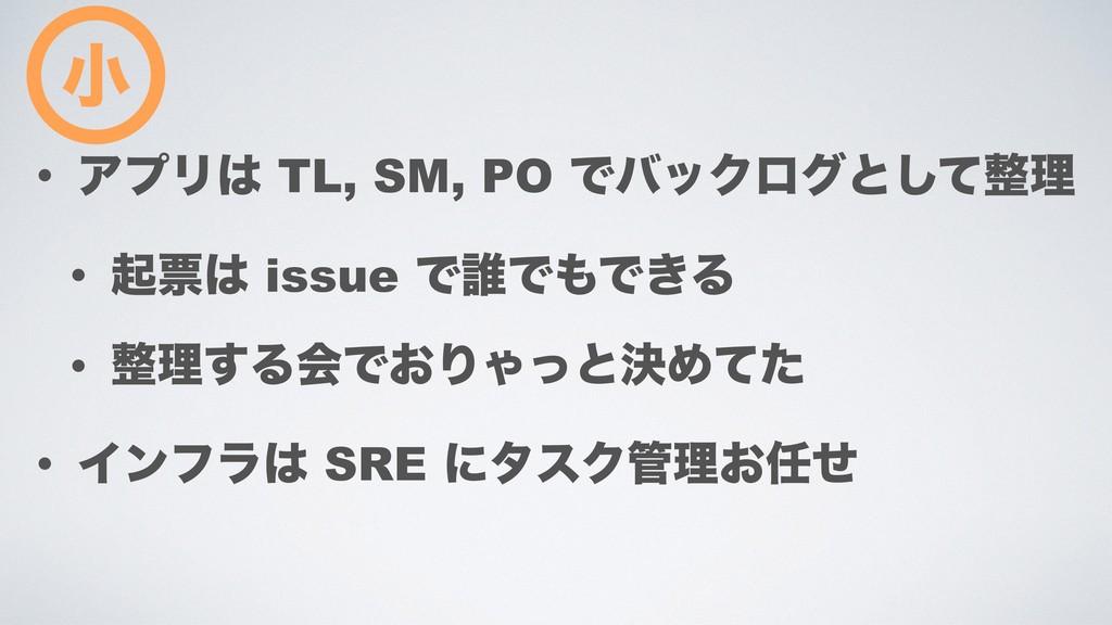 • ΞϓϦ TL, SM, PO ͰόοΫϩάͱͯ͠ཧ • ىථ issue Ͱ୭ͰͰ...