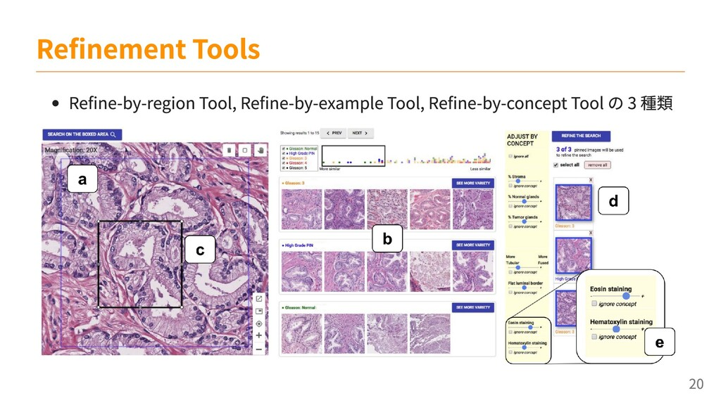 Refine-by-region Tool, Refine-by-example Tool, ...