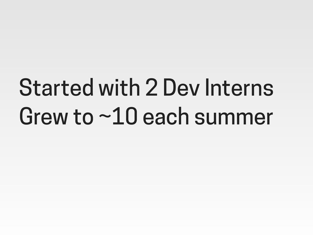 Started with 2 Dev Interns Grew to ~10 each sum...