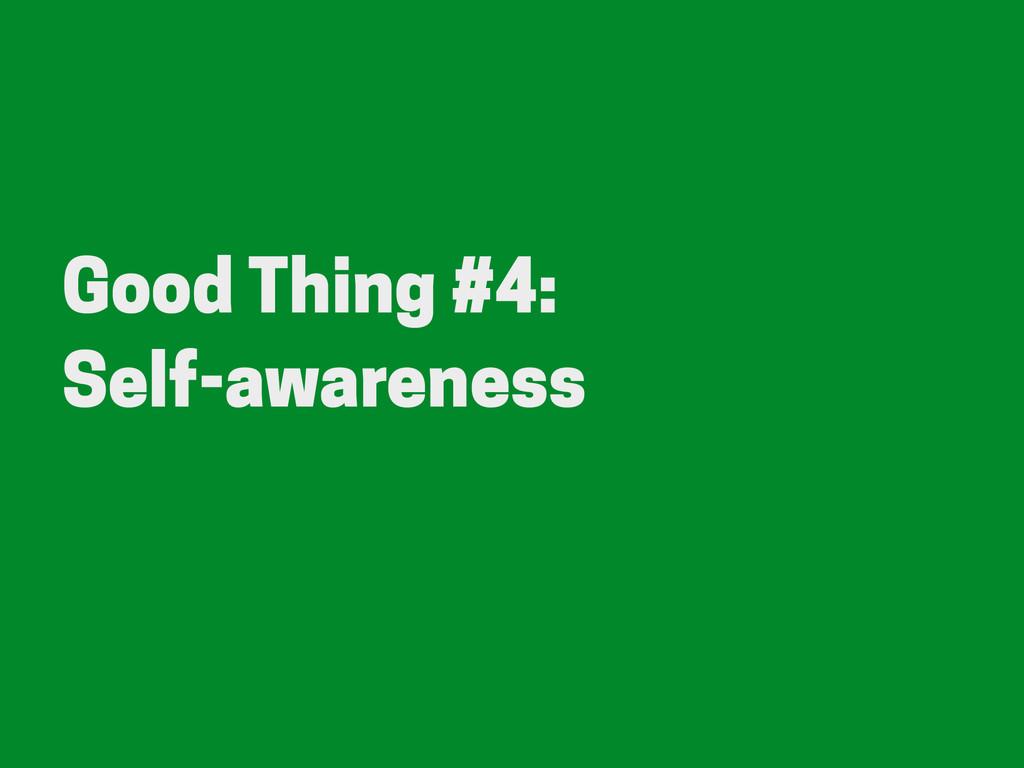 Good Thing #4: Self-awareness