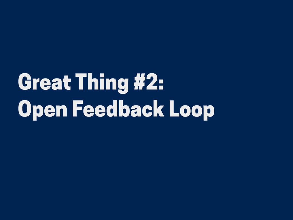 Great Thing #2: Open Feedback Loop