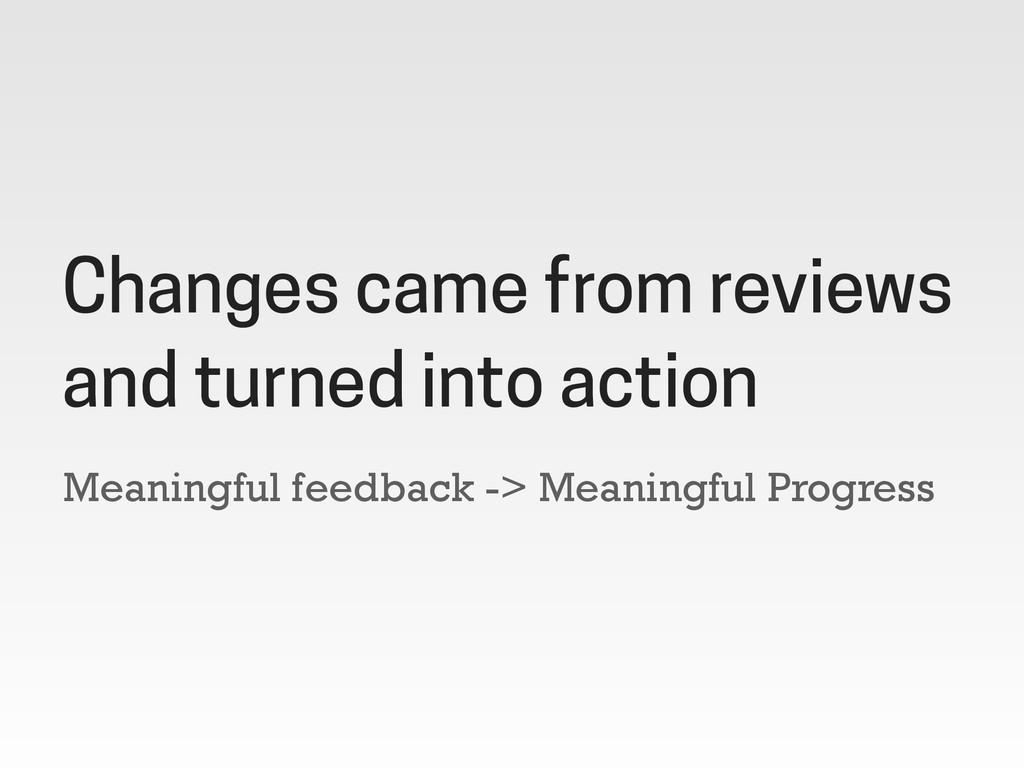 Meaningful feedback -> Meaningful Progress Chan...