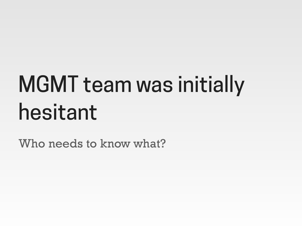 Who needs to know what? MGMT team was initially...