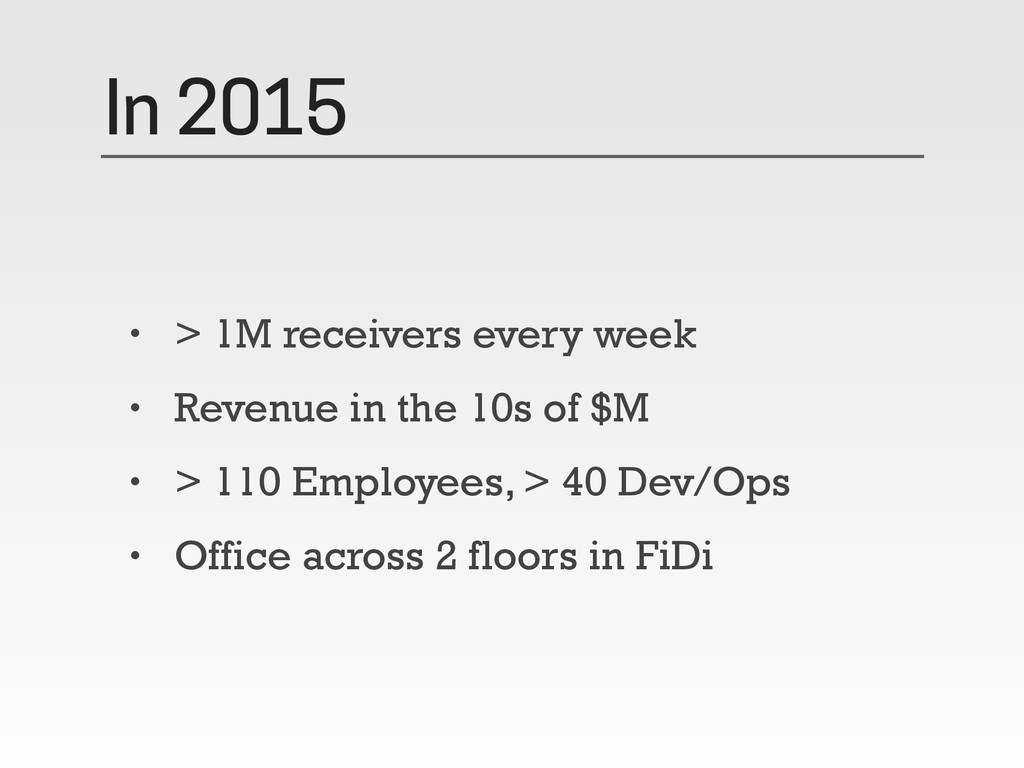 In 2015 • > 1M receivers every week • Revenue i...