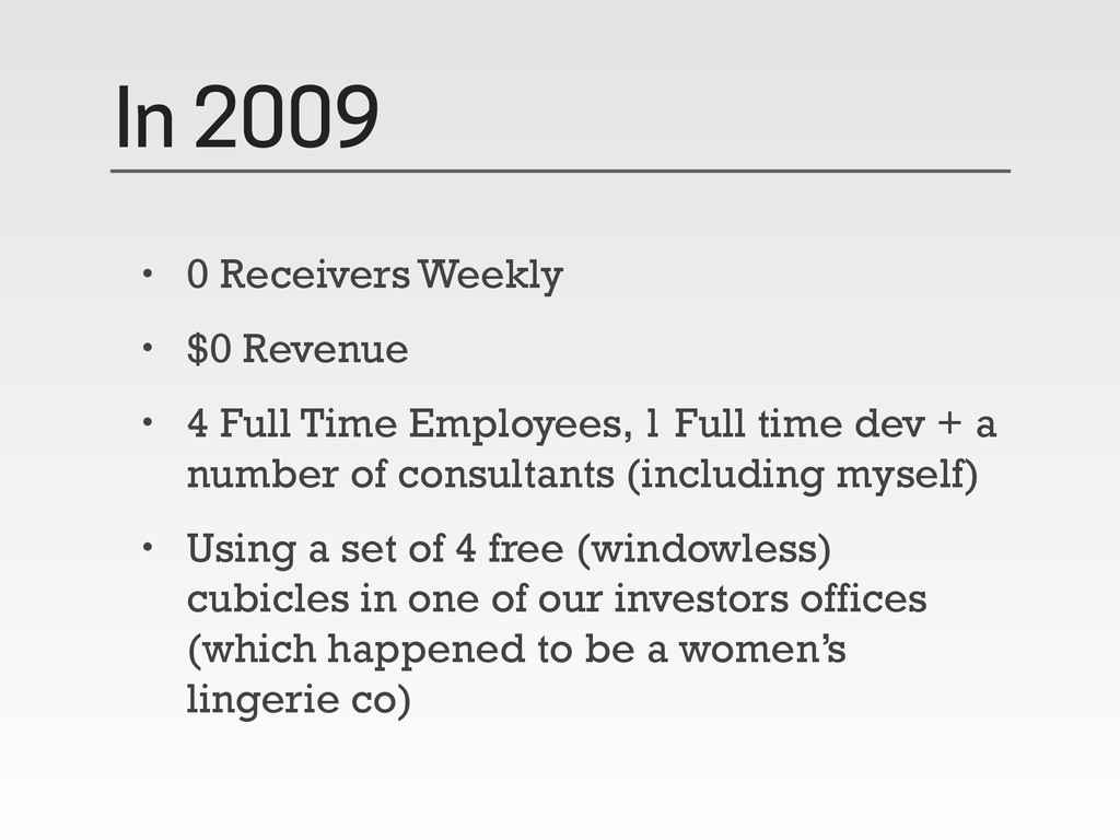In 2009 • 0 Receivers Weekly • $0 Revenue • 4 F...