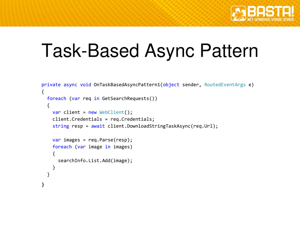 Task-Based Async Pattern private async void OnT...