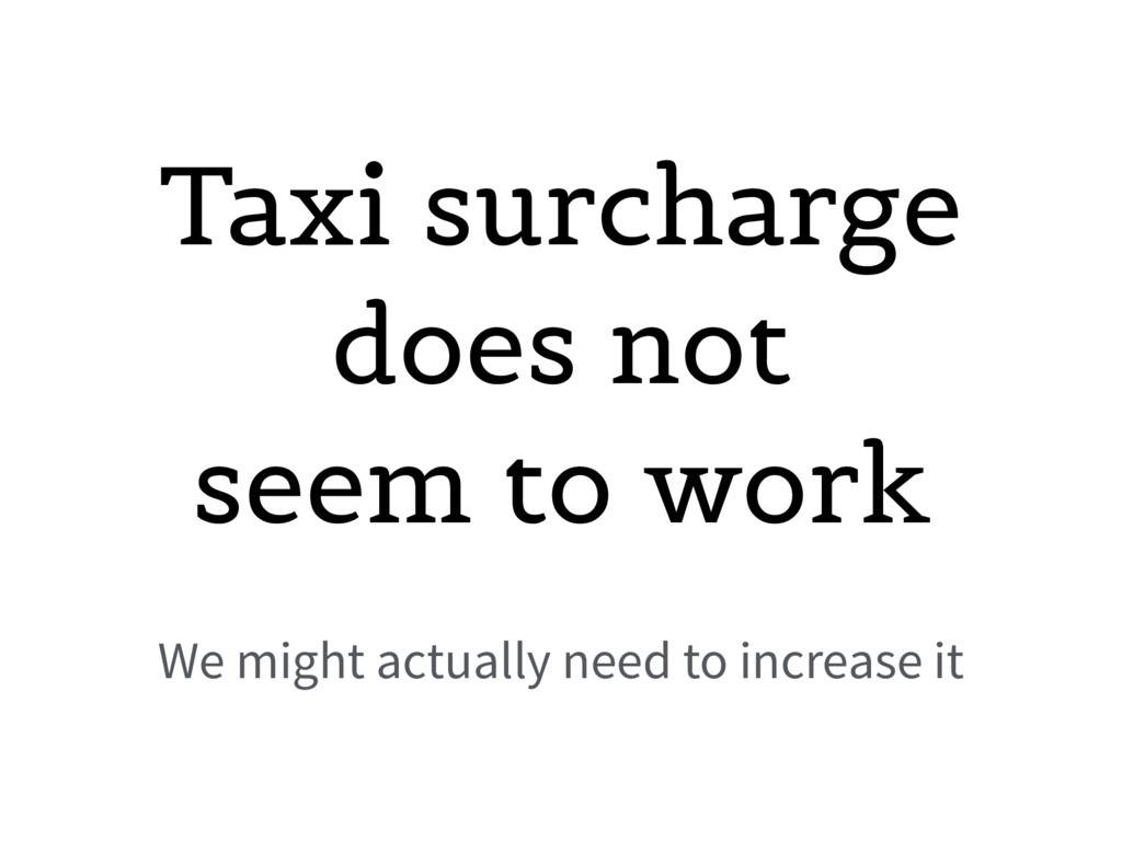 Taxi surcharge does not seem to work We might a...