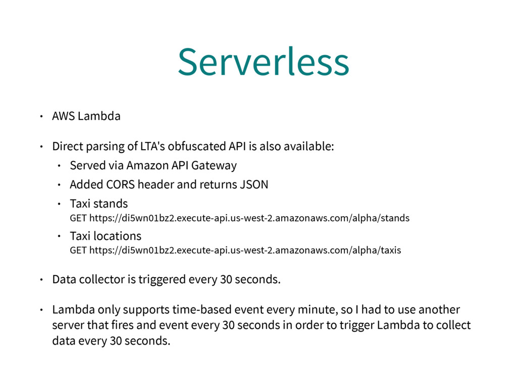 Serverless • AWS Lambda • Direct parsing of LTA...