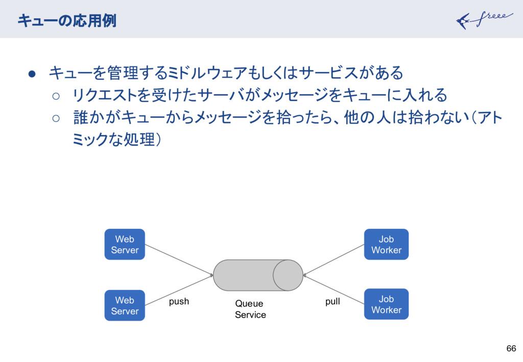 キューの応用例 66 ● キューを管理するミドルウェアもしくはサービスがある ○ リクエストを...