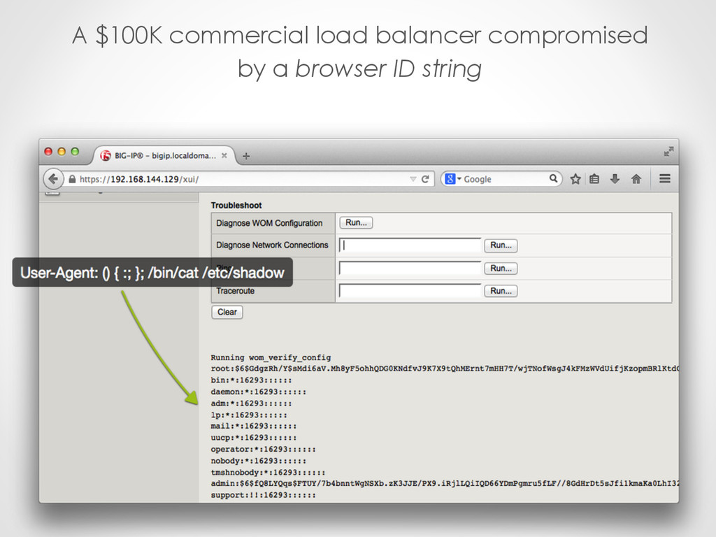 A $100K commercial load balancer compromised by...