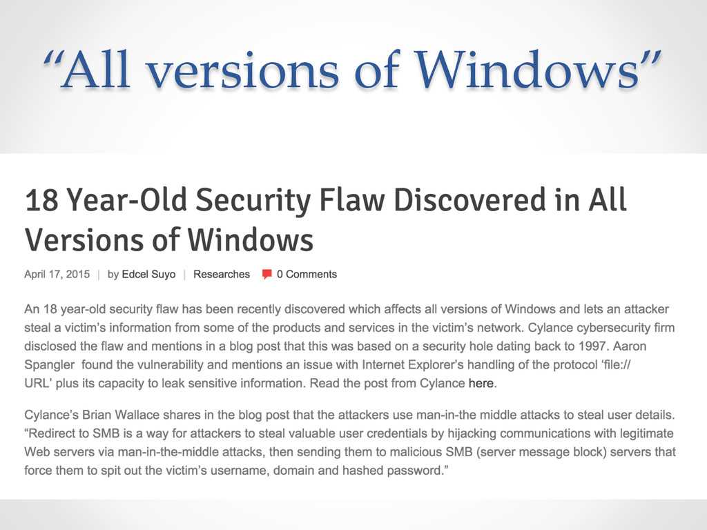 """""""All versions of Windows"""""""