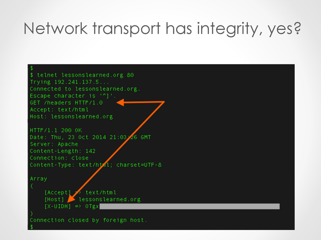 Network transport has integrity, yes?