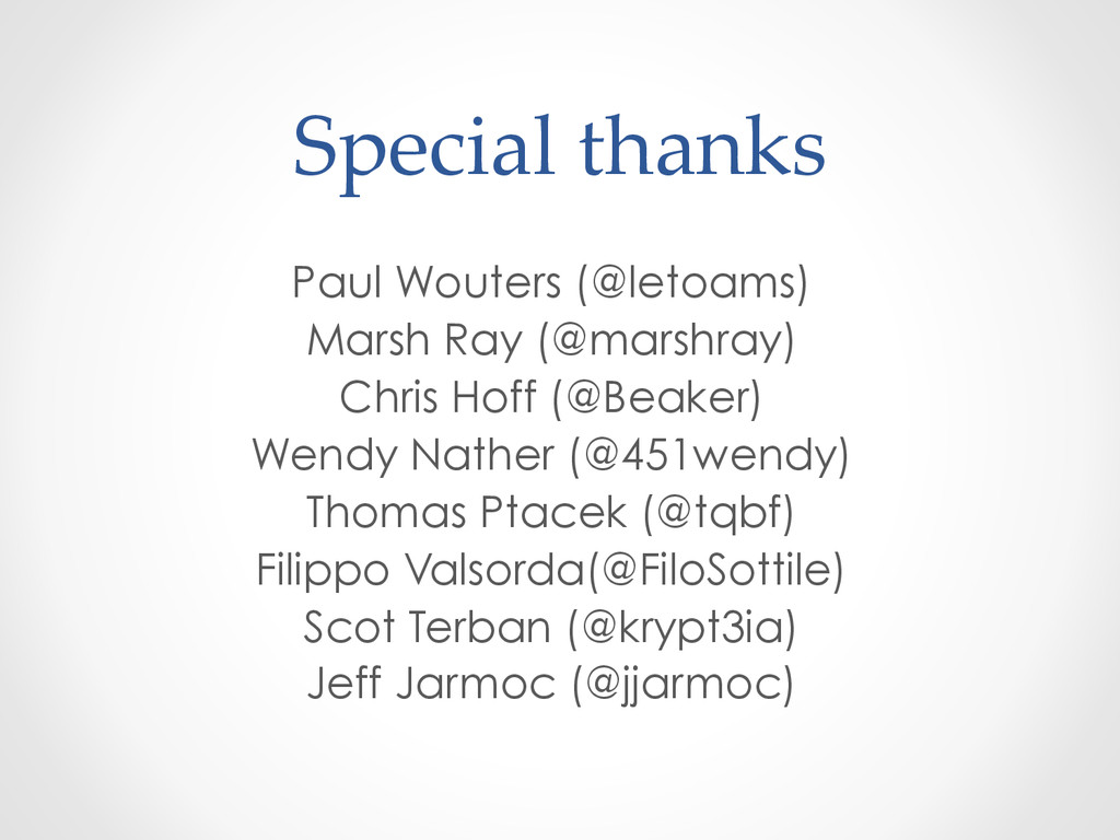 Special thanks Paul Wouters (@letoams) Marsh...