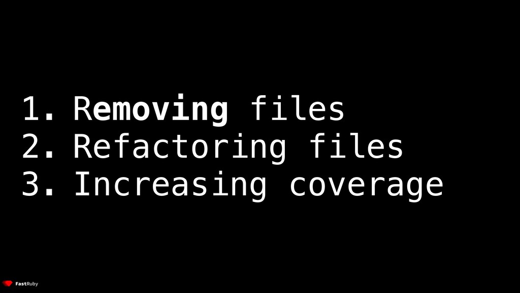 1. Removing files 2. Refactoring files 3. Incre...