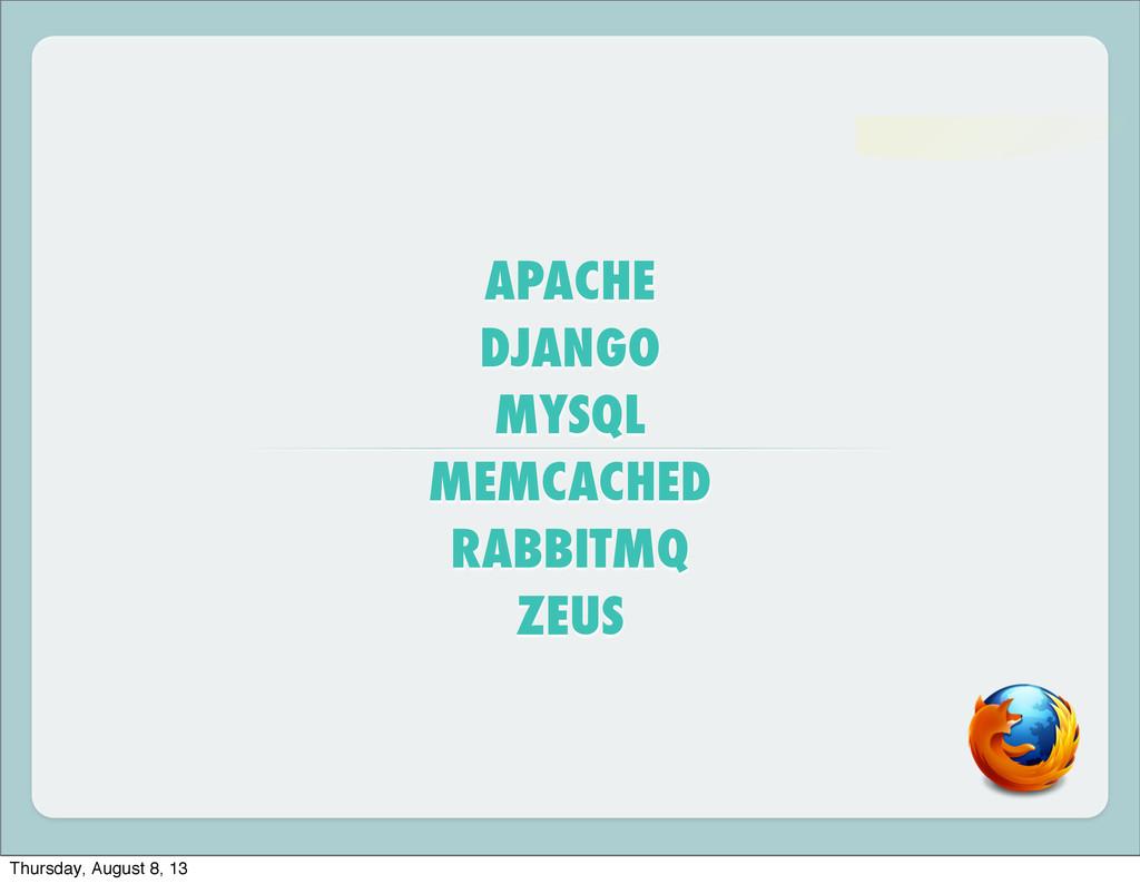 APACHE DJANGO MYSQL MEMCACHED RABBITMQ ZEUS Thu...