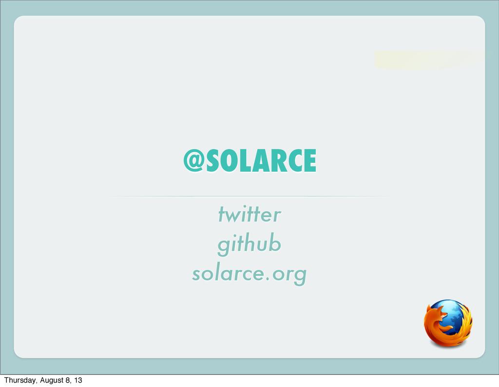 @SOLARCE twitter github solarce.org Thursday, A...