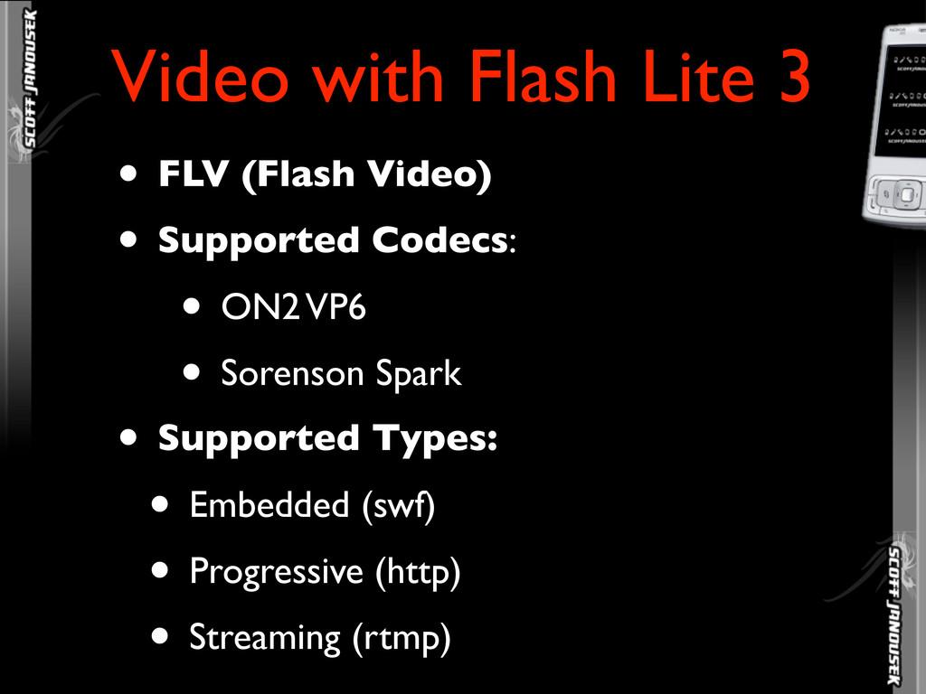 • FLV (Flash Video) • Supported Codecs: • ON2 V...