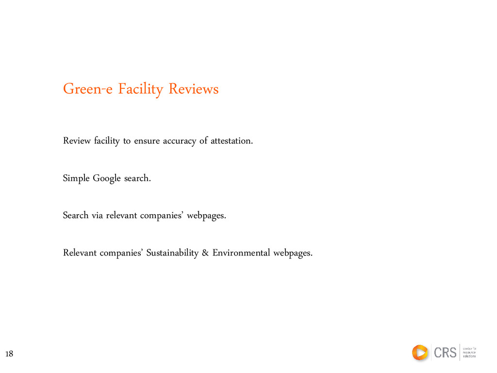 Green-e Facility Reviews Simple Google search. ...