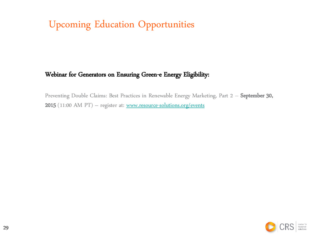 Upcoming Education Opportunities Webinar for Ge...