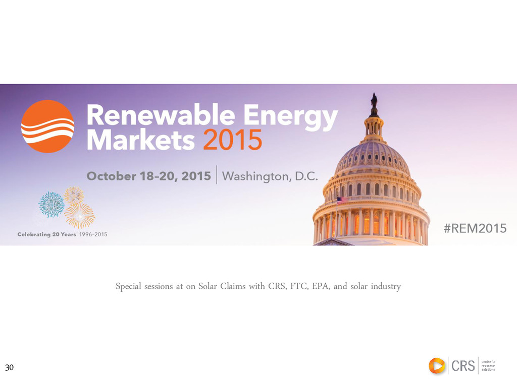 30 Special sessions at on Solar Claims with CRS...