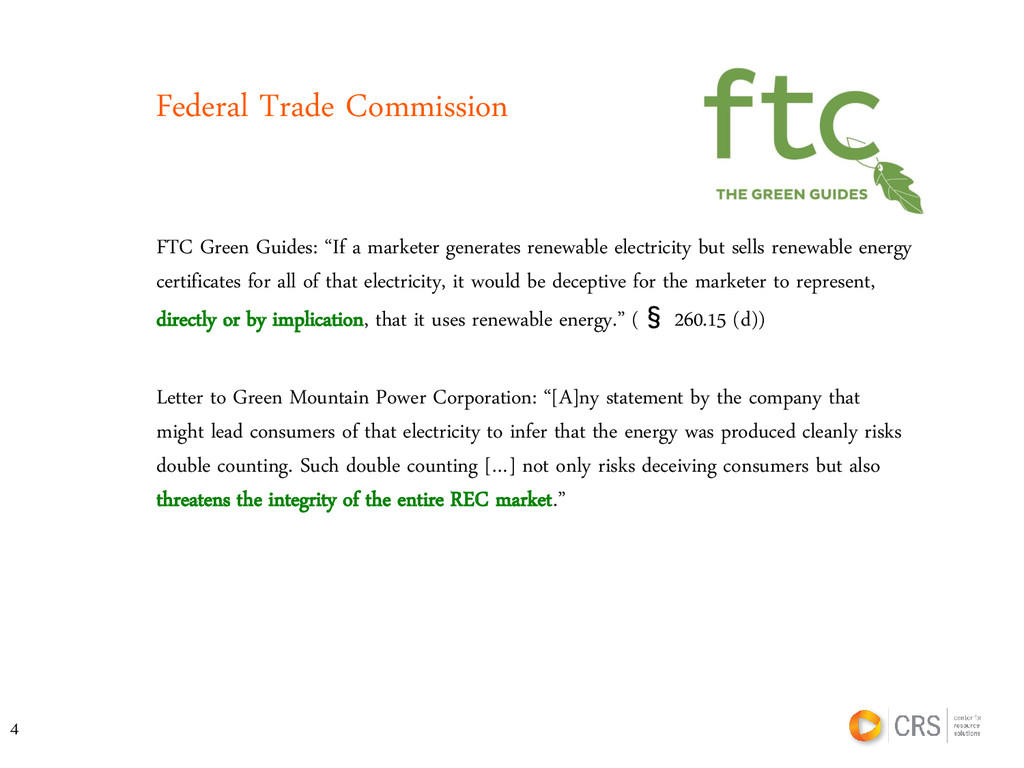 """Federal Trade Commission FTC Green Guides: """"If ..."""