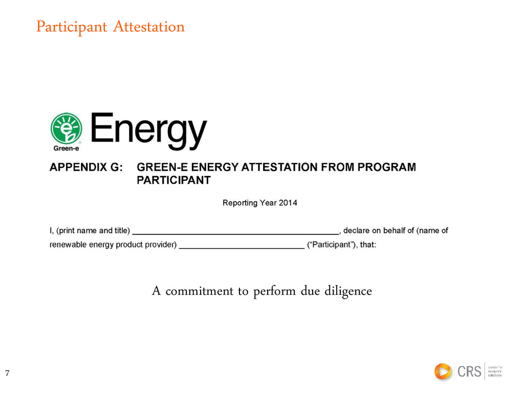 Participant Attestation A commitment to perform...