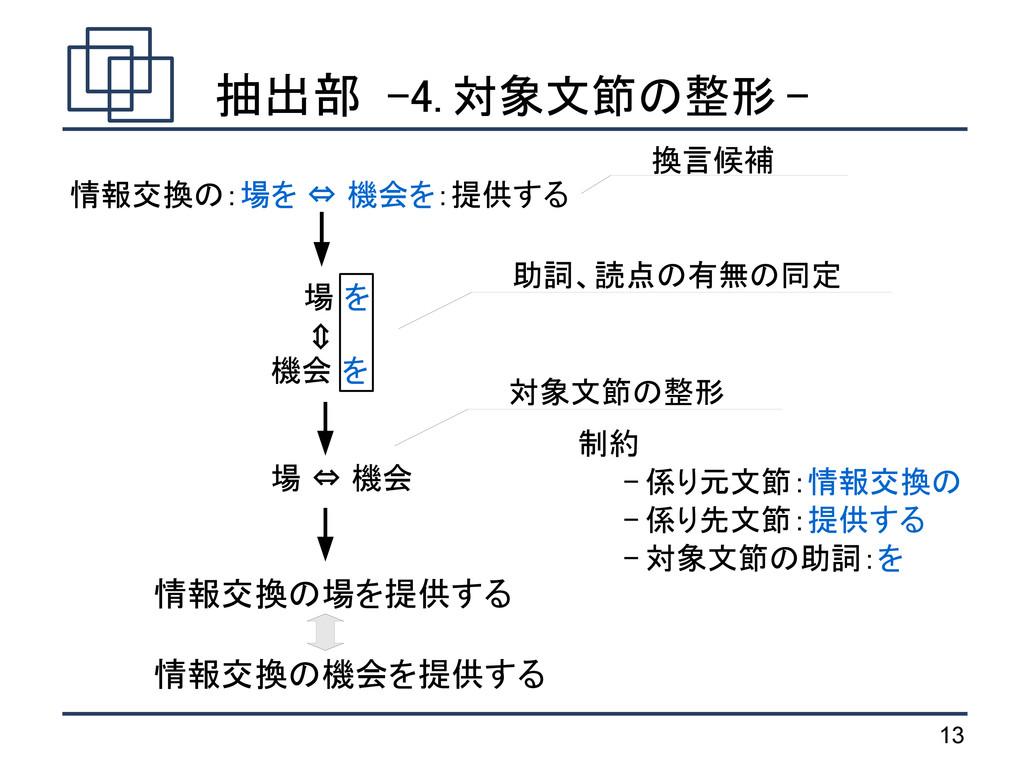 13 抽出部 -4. 対象文節の整形 - 場 を 機会 を 場 ⇔ 機会 ⇔ 情報交換の:場を...