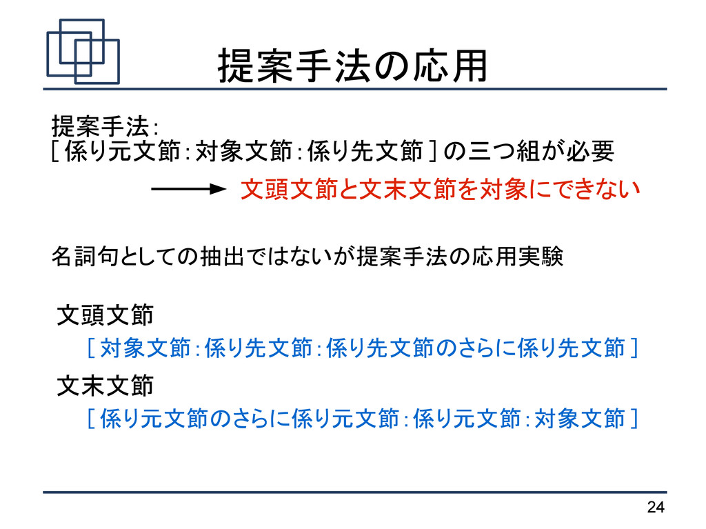 24 提案手法の応用 提案手法: [ 係り元文節:対象文節:係り先文節 ] の三つ組が必要 文...