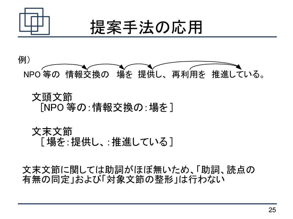 25 提案手法の応用 NPO 等の 情報交換の 場を 提供し、 推進している。 再利用を 文末...