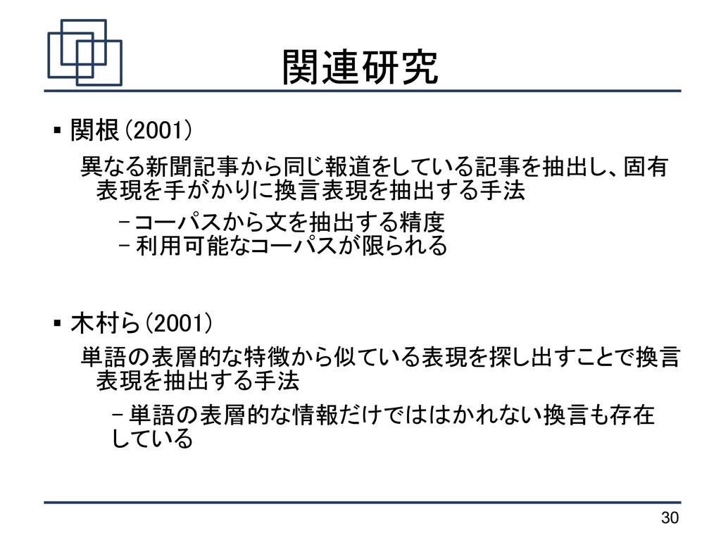 30 関連研究  関根 (2001) 異なる新聞記事から同じ報道をしている記事を抽出し、固有...