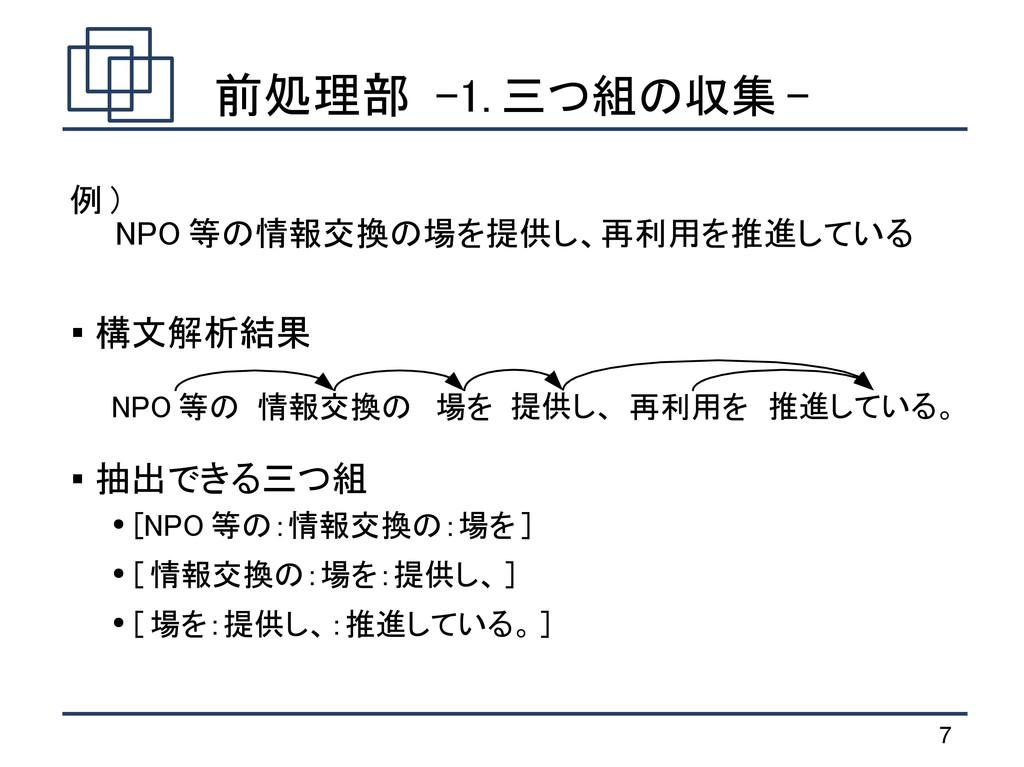 7 前処理部 -1. 三つ組の収集 - ● [NPO 等の:情報交換の:場を ] ● [ 情報...