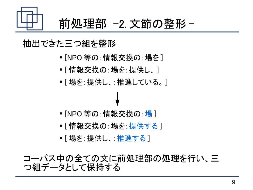 9 前処理部 -2. 文節の整形 - ● [NPO 等の:情報交換の:場を ] ● [ 情報交...