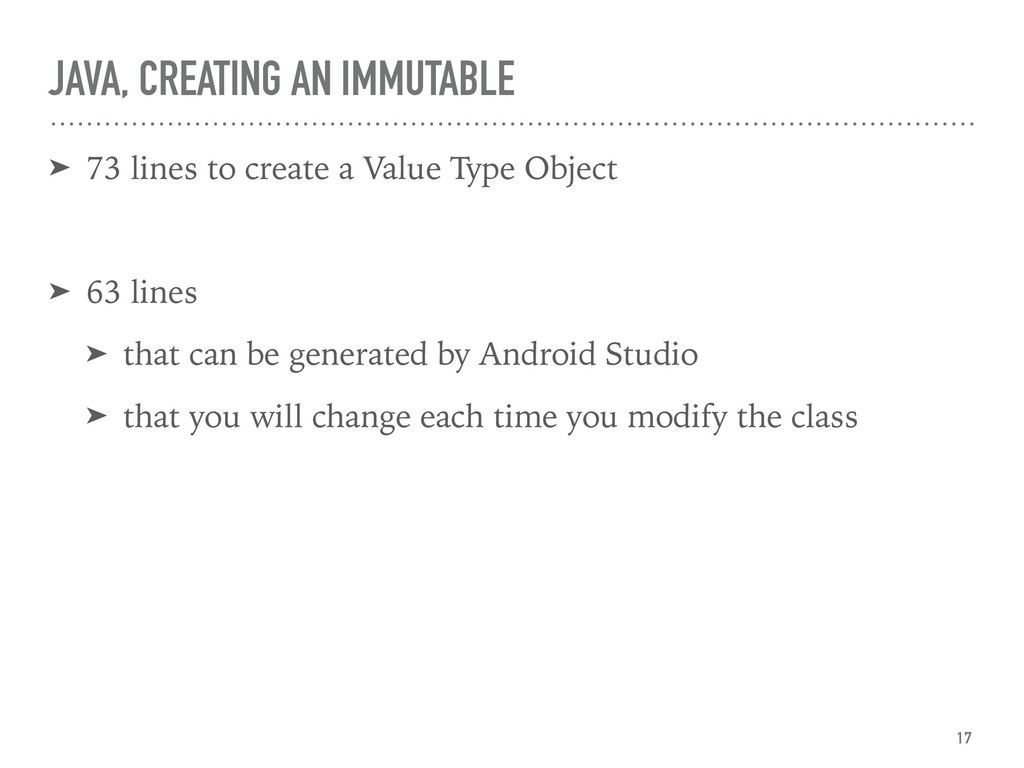 JAVA, CREATING AN IMMUTABLE ➤ 73 lines to creat...