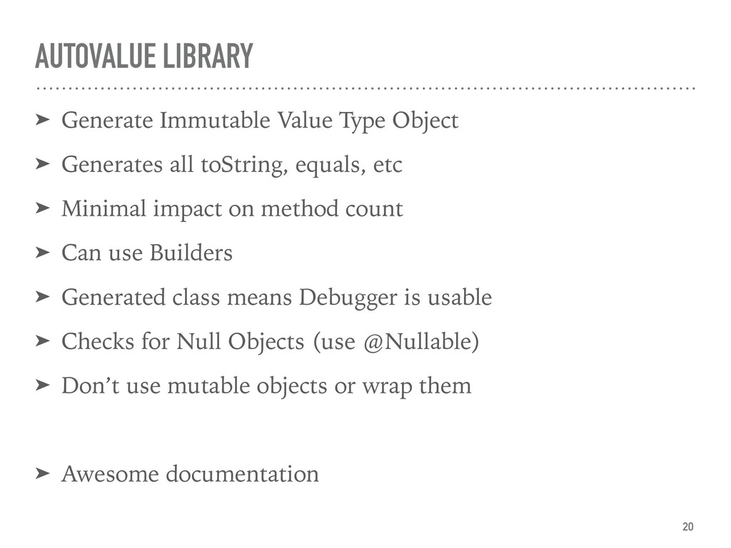 AUTOVALUE LIBRARY ➤ Generate Immutable Value Ty...