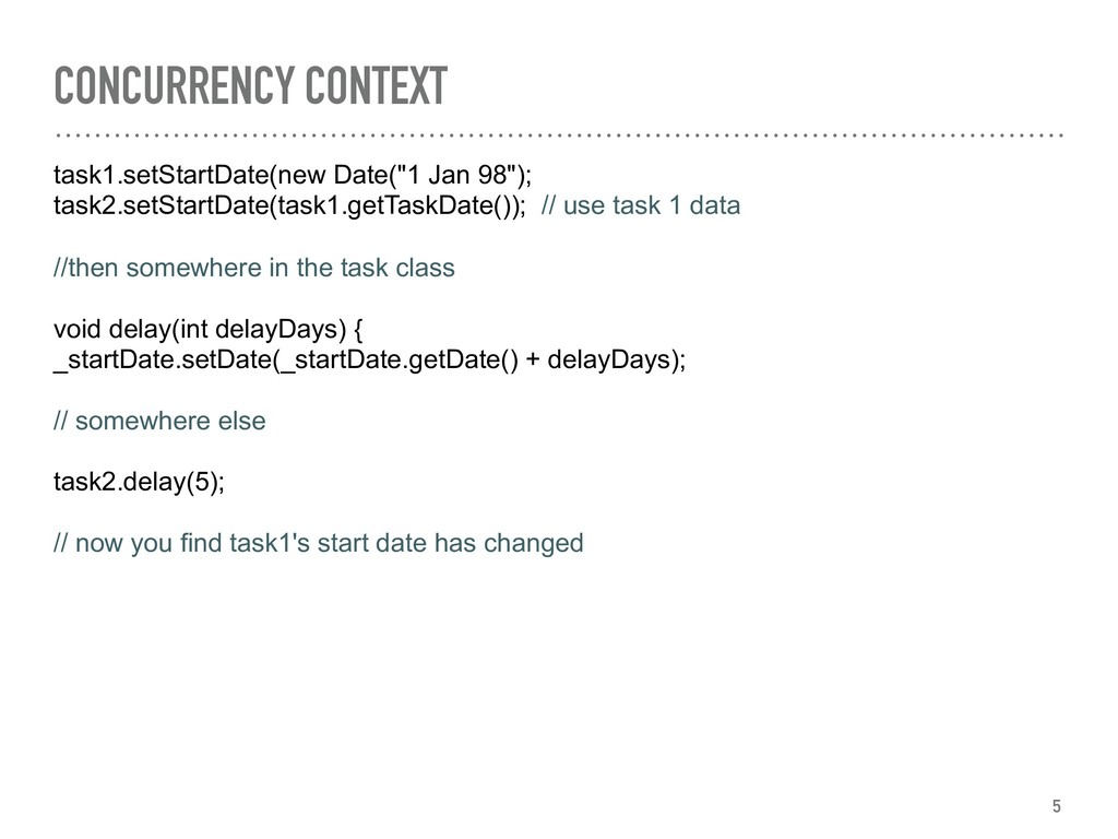 CONCURRENCY CONTEXT task1.setStartDate(new Date...