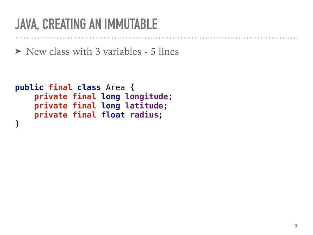 JAVA, CREATING AN IMMUTABLE ➤ New class with 3 ...