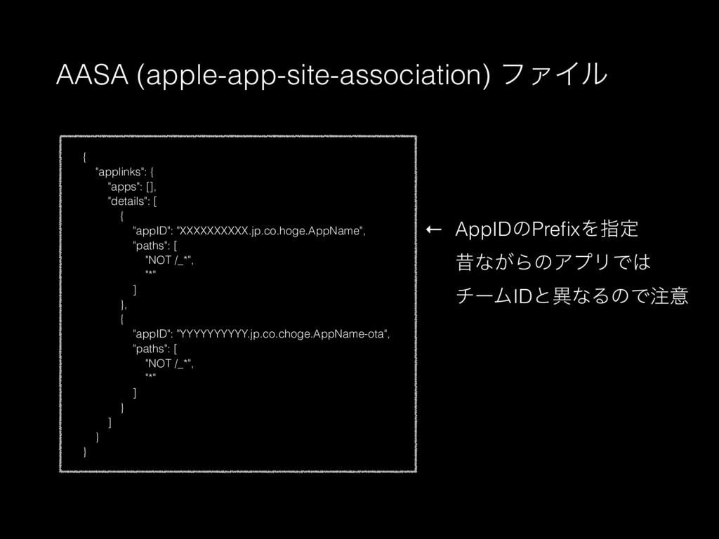 "AASA (apple-app-site-association) ϑΝΠϧ { ""appli..."