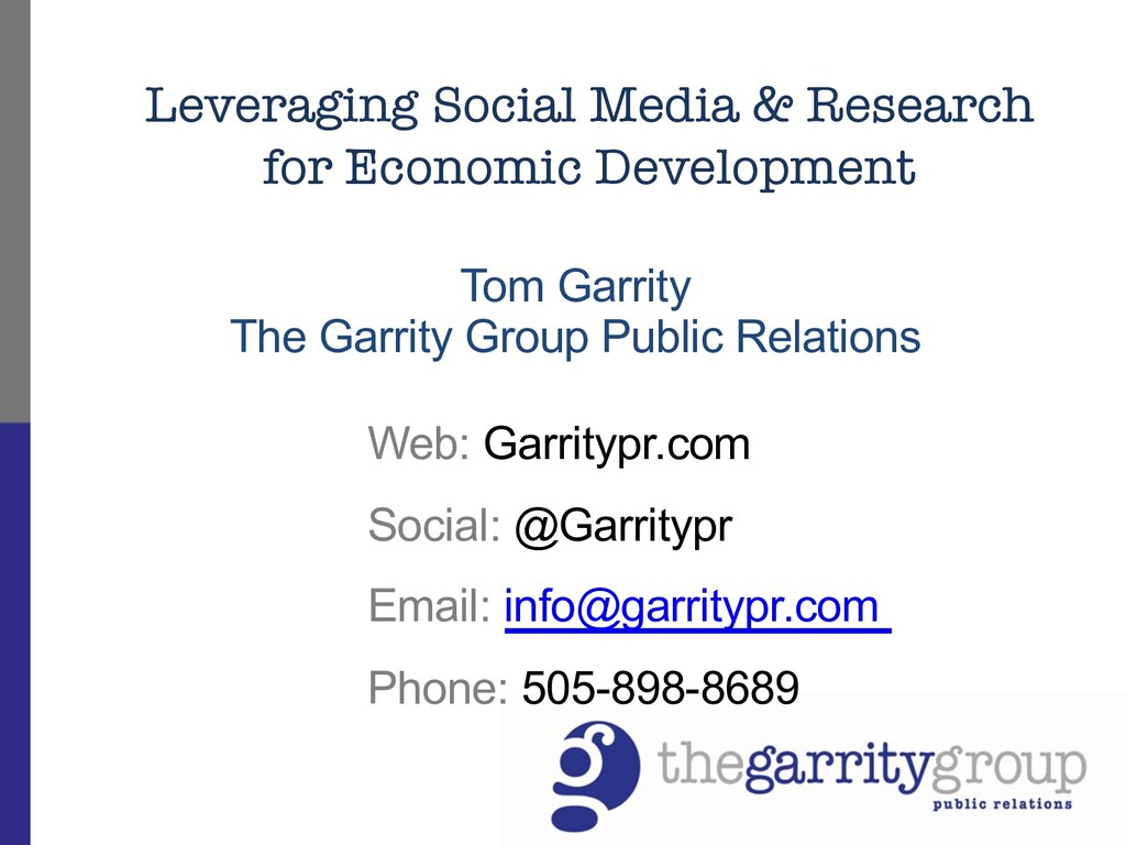 Tom Garrity The Garrity Group Public Relations ...