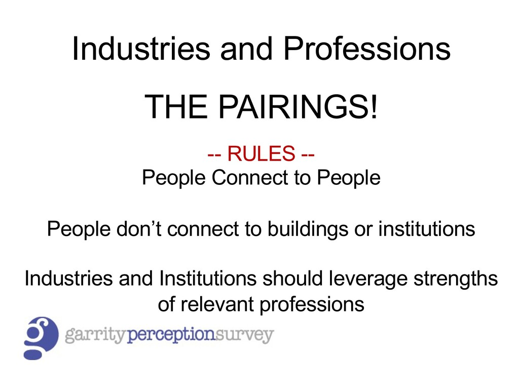 Industries and Professions THE PAIRINGS! -- RUL...