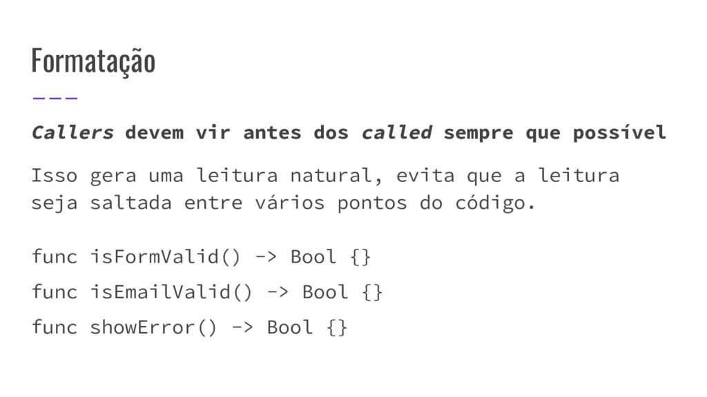 Formatação Callers devem vir antes dos called s...