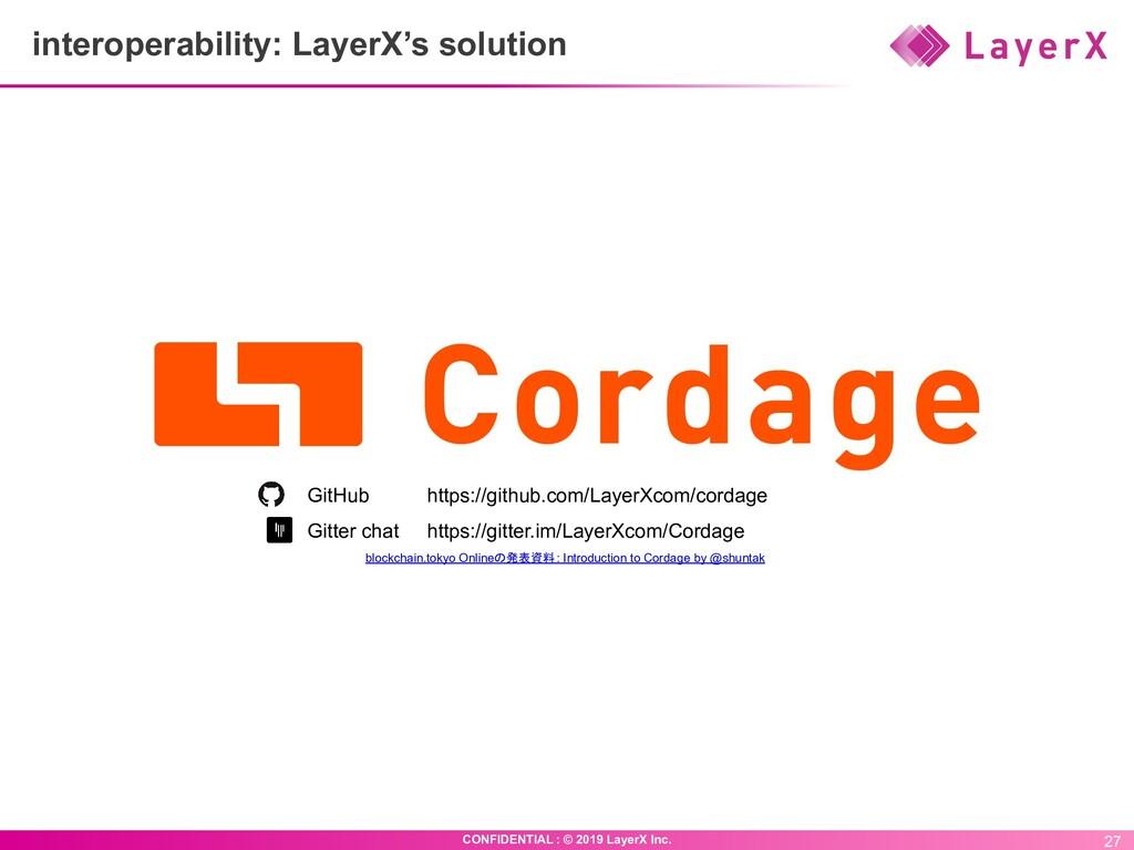 27 CONFIDENTIAL : © 2019 LayerX Inc. interopera...